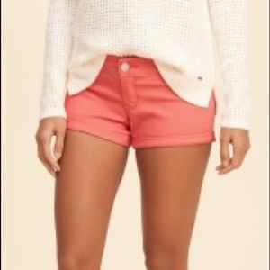 Hollister Low-Rise Sateen Short-Shorts Dark Coral